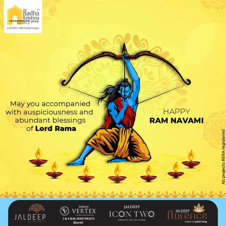 May you accompanied with auspiciousness and abundant blessings of Lord Rama  #HappyRamNavami #RamNavami #RamNavami2021 #AuspiciousDay #ShreeRadhaKrishnaGroup #RadhaKrishnaGroup #SRKG #Ahmedabad #RealEstate