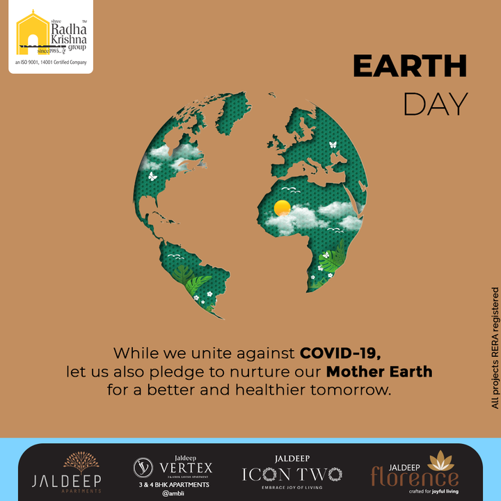 While we unite against COVID-19, let us also pledge to nurture our Mother Earth for a better and healthier tomorrow.  #WorldEarthDay #SaveEarth #EarthDay2021 #EarthDay #MotherEarth #SaveThePlanet #ShreeRadhaKrishnaGroup #RadhaKrishnaGroup #SRKG #Ahmedabad #RealEstate