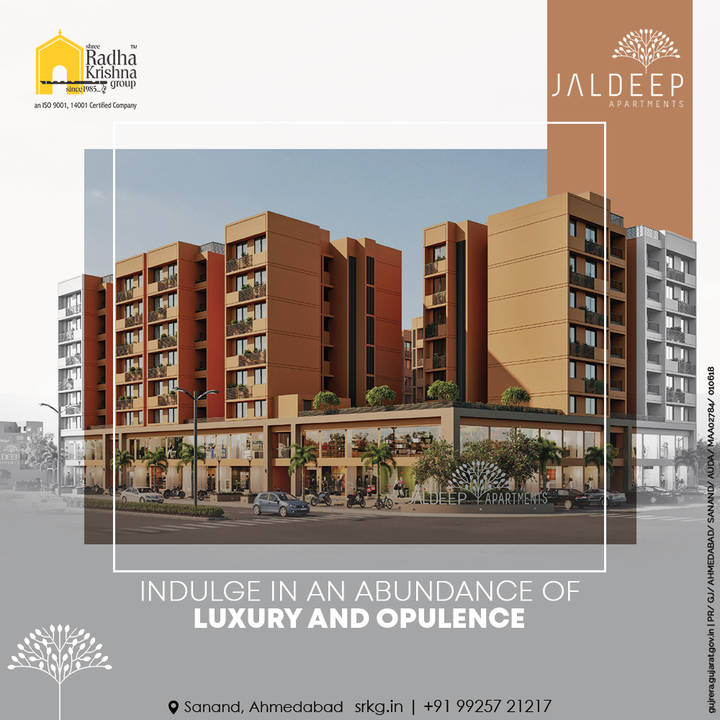 Embrace the richness of plush luxury and elegant opulence amidst your own home, only at Jaldeep Apartments  #JaldeepApartments #LuxuryLiving #ShreeRadhaKrishnaGroup #Ahmedabad #RealEstate #SRKG