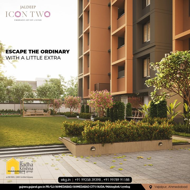 Escape the ordinary with a little extra and give your loved ones an extraordinary living only at Jaldeep Icon Two.  #JaldeepIconTwo #IconTwo #LuxuryLiving #ShreeRadhaKrishnaGroup #RadhaKrishnaGroup #SRKG #Vejalpur #Makarba #Ahmedabad #RealEstate