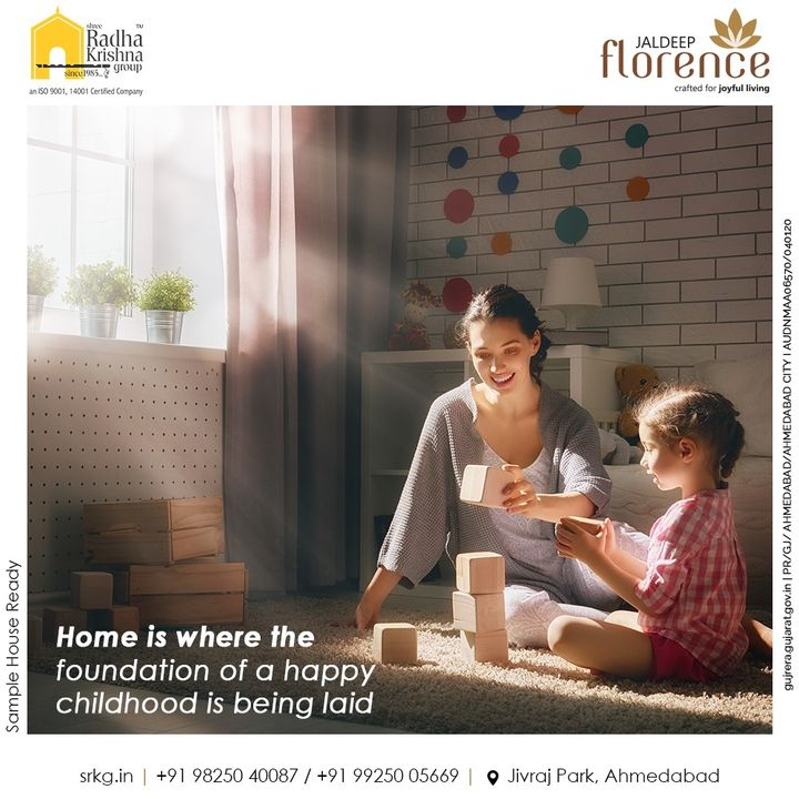Home is where the foundation of a happy childhood is being laid.  Give your little ones the playful childhood they deserve to have at home.  #JaldeepFlorence #Amenities #LuxuryLiving #RadhaKrishnaGroup #ShreeRadhaKrishnaGroup #JivrajPark #Ahmedabad #RealEstate #SRKG