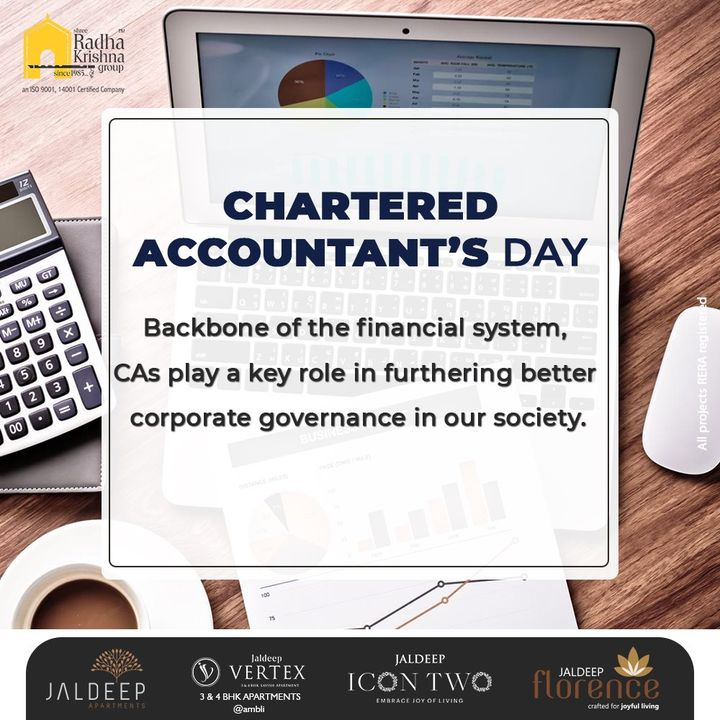 Backbone of the financial system, CAs play a key role in furthering better corporate governance in our society.  #CharteredAccountantsDay #CADay #NationalCharteredAccountantsDay #CharteredAccountantsDay2021 #ShreeRadhaKrishnaGroup #RadhaKrishnaGroup #SRKG #Ahmedabad #RealEstate