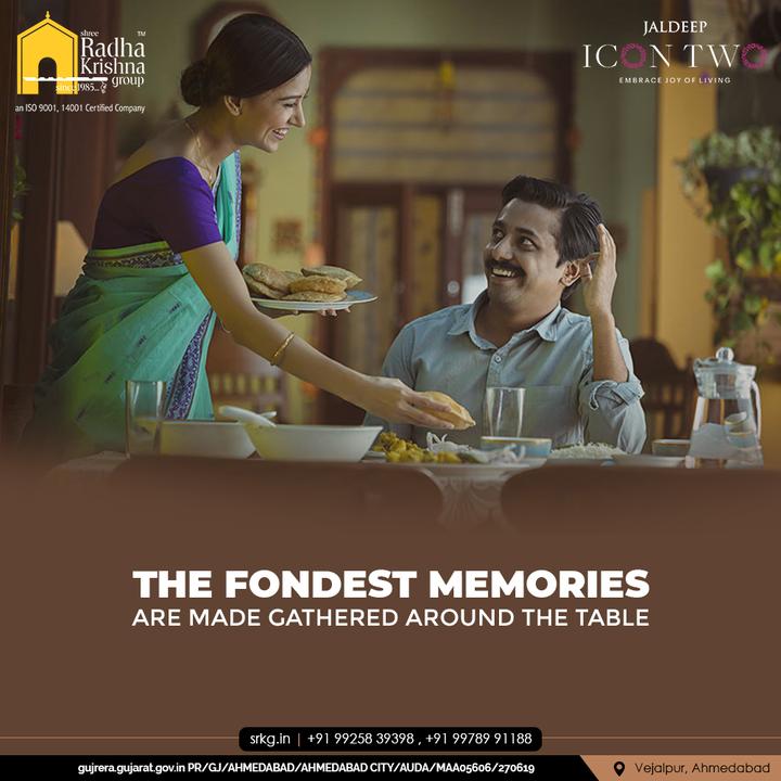 The fondest memories are made gathered around the table at Jaldeep Icon Two!  #JaldeepIconTwo #IconTwo #LuxuryLiving #ShreeRadhaKrishnaGroup #RadhaKrishnaGroup #SRKG #Vejalpur #Makarba #Ahmedabad #RealEstate