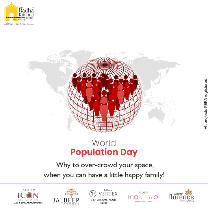 Why to over-crowd your space, when you can have a little happy family!  #WorldPopulationDay #WorldPopulationDay2021 #StopPopulation #PopulationControl #PopulationDay #ShreeRadhaKrishnaGroup #RadhaKrishnaGroup #SRKG #Ahmedabad #RealEstate