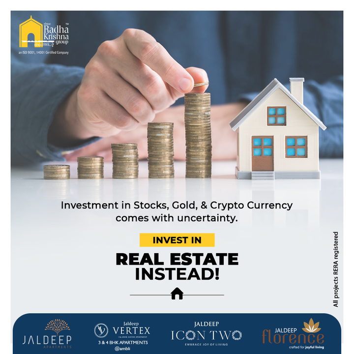 Real Estate is extra reliable and lucrative as compared to Stocks, Gold, & Crypto Currency in terms of long-term returns. So when investing, invest in Real Estate instead.  #ShreeRadhaKrishnaGroup #RadhaKrishnaGroup #SRKG #Ahmedabad #RealEstate