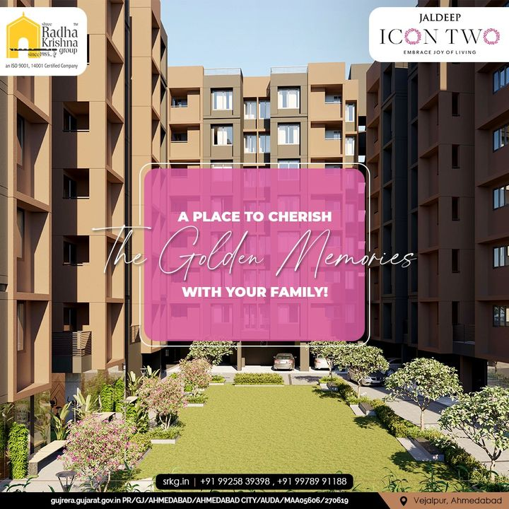 Jaldeep Icon 2 with its beautiful design with spacious homes is the best place to cherish the Golden Memories with your Family!  #JaldeepIconTwo #IconTwo #LuxuryLiving #ShreeRadhaKrishnaGroup #RadhaKrishnaGroup #SRKG #Vejalpur #Makarba #Ahmedabad #RealEstate