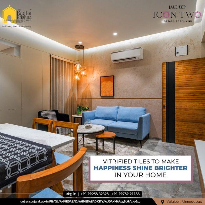 With Vitrified Tiles Flooring, your life at Jaldeep Icon 2 will shine bright with Happiness.  #JaldeepIconTwo #IconTwo #LuxuryLiving #ShreeRadhaKrishnaGroup #RadhaKrishnaGroup #SRKG #Vejalpur #Makarba #Ahmedabad #RealEstate