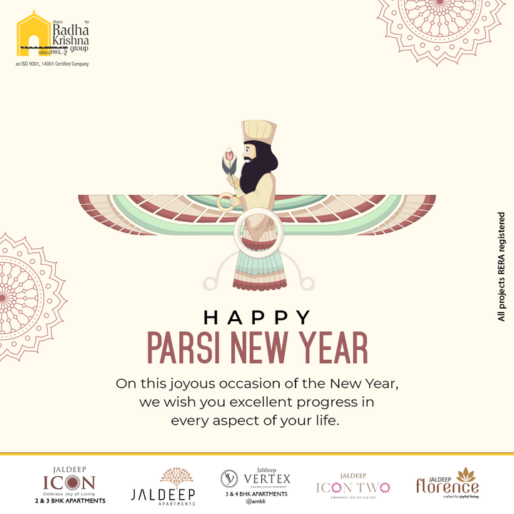 On this joyous occasion of the New Year, we wish you excellent progress in every aspect of your life.  #ParsiNewYear #ParsiNewYear2021 #NavrozMubarak #Navroz #ShreeRadhaKrishnaGroup #RadhaKrishnaGroup #SRKG #Ahmedabad #RealEstate