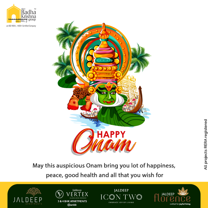 May this auspicious Onam bring you lot of happiness, peace, good health and all that you wish for  #HappyOnam #Onam2021 #Onam #Celebration #ShreeRadhaKrishnaGroup #RadhaKrishnaGroup #SRKG #Ahmedabad #RealEstate