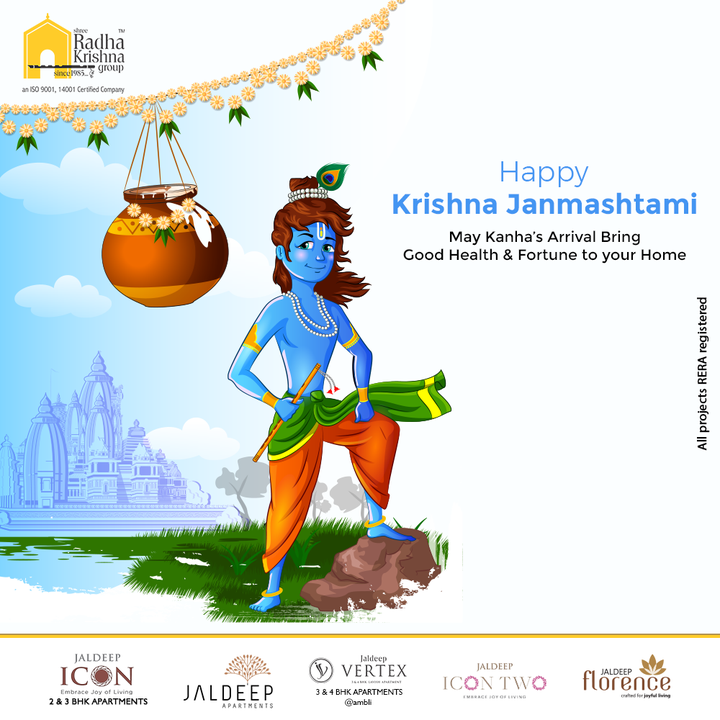 May Kanha's Arrival Bring Good Health & Fortune to your Home.  #HappyJanmashtami2021 #JanmashtamiCelebrations #DahiHandi #HappyJanmashatami #Janmashtami2021 #LordKrishna #Krishna #ShriKrishna #KrishnaJanmashtami #ShreeRadhaKrishnaGroup #RadhaKrishnaGroup #SRKG #Ahmedabad #RealEstate