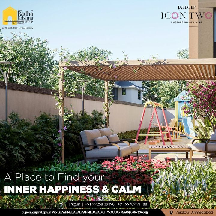 In today's hectic life, it is better and necessary to slow down from time to time and spend some time relaxing and composing yourself. For that, Jaldeep Icon 2's campus has an incorporated sitting area surrounded by lush greenery to help you sit, relax, and Find your Inner Happiness & Calm.  #JaldeepIconTwo #IconTwo #LuxuryLiving #ShreeRadhaKrishnaGroup #RadhaKrishnaGroup #SRKG #Vejalpur #Makarba #Ahmedabad #RealEstate