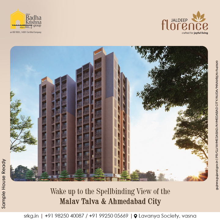 Start your day by soaking in the fresh air and taking in the spellbinding view of the Malav Talav & the entirety of Ahmedabad City at Jaldeep Florence by SRKG Group.  #JaldeepFlorence #Amenities #LuxuryLiving #RadhaKrishnaGroup #ShreeRadhaKrishnaGroup #JivrajPark #Ahmedabad #RealEstate #SRKG
