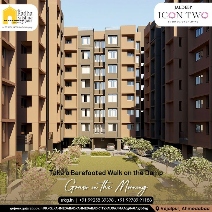Start your mornings by walking on the damp grass in the morning with no shoes on & let your body connect with the ground at the in-house garden space at Jaldeep Icon 2.  #JaldeepIconTwo #IconTwo #LuxuryLiving #ShreeRadhaKrishnaGroup #RadhaKrishnaGroup #SRKG #Vejalpur #Makarba #Ahmedabad #RealEstate