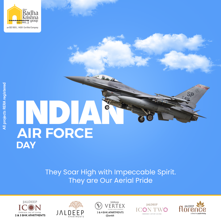 They Soar High with Impeccable Spirit. They are Our Aerial Pride.  #IndianAirForceDay #IndianAirForce #AirForce #IndianAirForceDay2021 #ShreeRadhaKrishnaGroup #RadhaKrishnaGroup #SRKG #Ahmedabad #RealEstate
