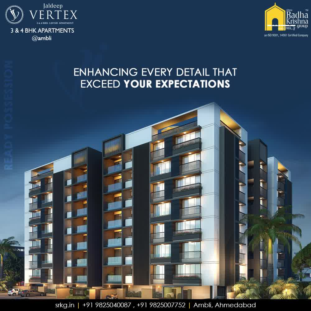 An envisioned project; #JaldeepVertext is designed to enhance every detail that exceeds the expectations of the dwellers.  #ExceedingYourExpectation #Ambli #ShreeRadhaKrishnaGroup #Ahmedabad #RealEstate #LuxuryLiving