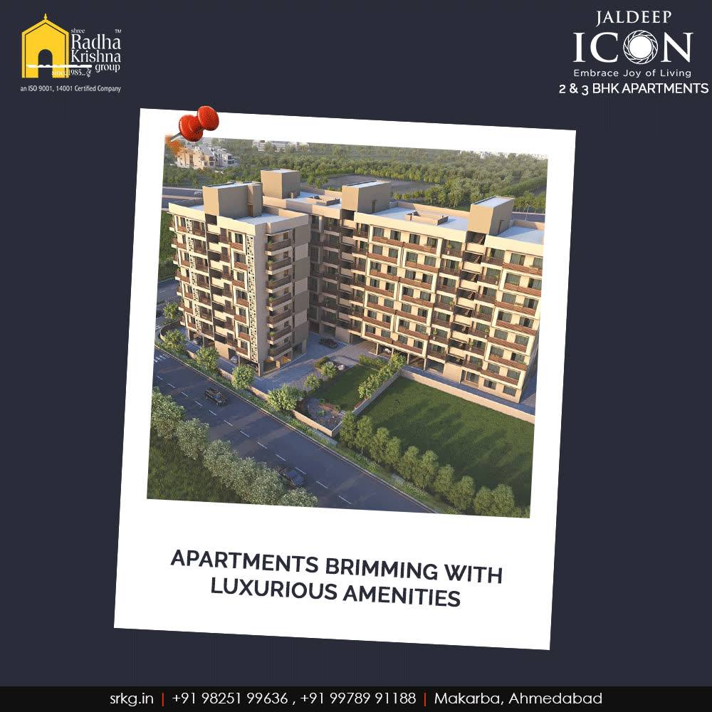 Come home to an uplifted lifestyle at #JaldeepIcon that comprises of the apartments brimming with luxurious amenities.  #SampleFlatReady #2and3BHKApartments #Amenities #LuxuryLiving #ShreeRadhaKrishnaGroup #Makarba #Ahmedabad