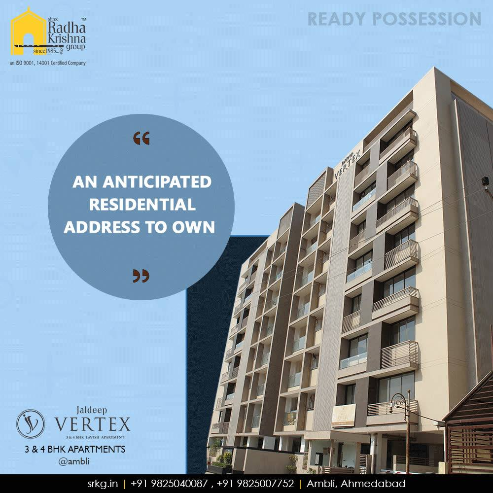 The anticipated residential address; #JaldeepVertex is well equipped with all the modern facilities & amenities to facilitate the needs of its residents.  #AnticipatedResidentialAddress #DreamsComeHome #AnAssetToCelebrate #NewYearResolution #GoodInvestment #YourHome #ShreeRadhaKrishnaGroup #Ahmedabad #RealEstate #Vertex