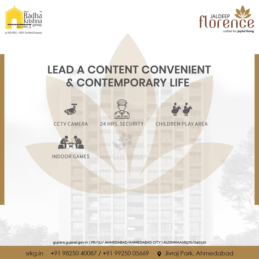 Lead a content, convenient and contemporary life at #JaldeepFlorence.  #Launchingsoon #LuxuryLiving #ShreeRadhaKrishnaGroup #Ahmedabad #RealEstate #SRKG