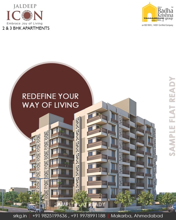 #JaldeepIcon, a classic choice for your living.  #SampleFlatReady #2and3BHKApartments #LuxuryLiving #ShreeRadhaKrishnaGroup #Makarba #Ahmedabad