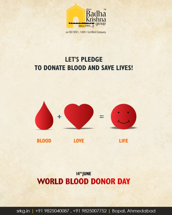 Let's pledge to donate blood and save lives!  #DonateBlood #WorldBloodDonorDay #WorldBloodDonorDay2018 #ShreeRadhaKrishnaGroup #Ahmedabad