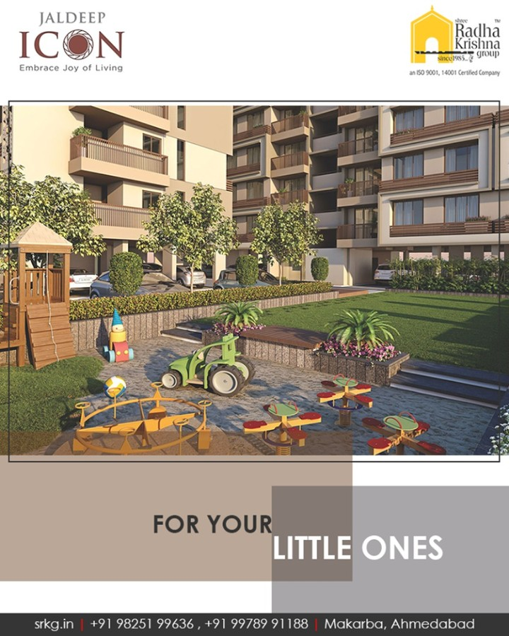 Let your little ones have their own space to have fun at #JaldeepIcon!  #SampleFlatReady #2and3BHKApartments #LuxuryLiving #ShreeRadhaKrishnaGroup #Makarba #Ahmedabad