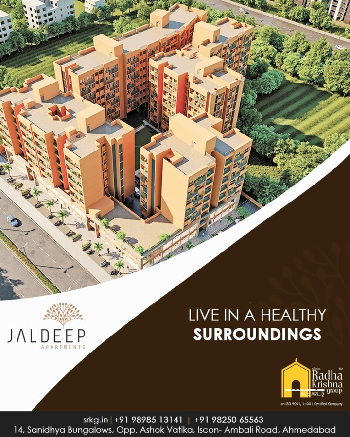 Home with beautiful sprawling green spaces and well planned ambiance best for your recreational activities!  #JaldeepApartments #Sanand #ShreeRadhaKrishnaGroup #Ahmedabad #RealEstate #LuxuryLiving