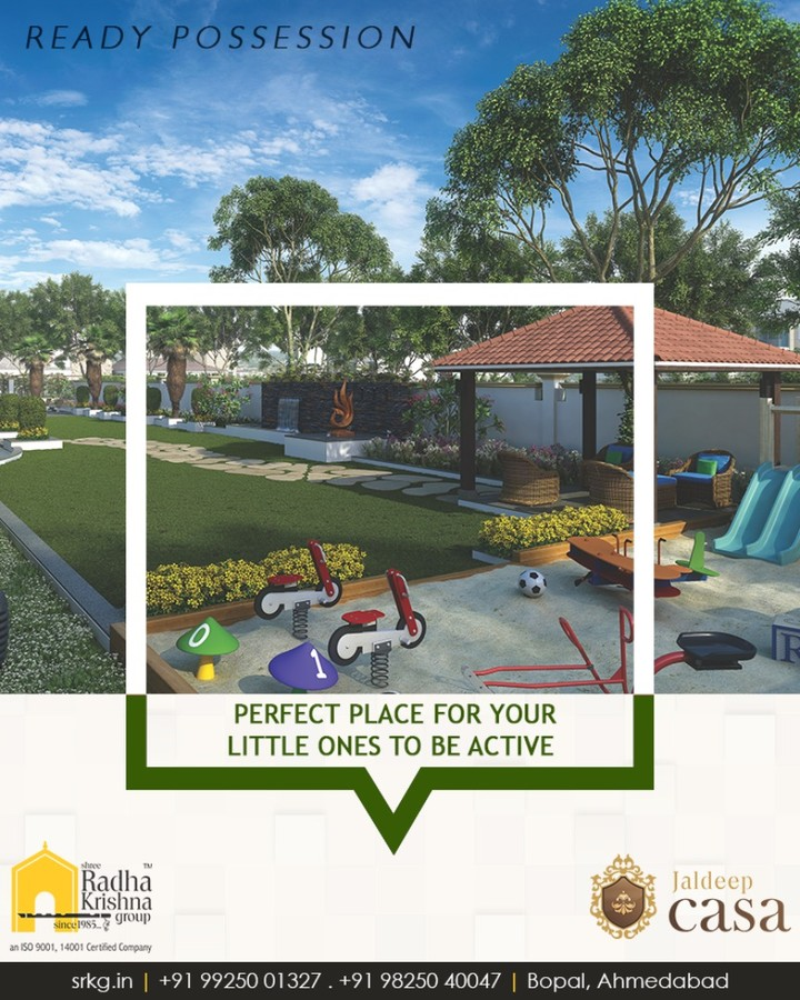 The perfect place for your little ones to be active, happy and social.  #JaldeepCasa #ShreeRadhaKrishnaGroup #Ahmedabad #RealEstate #LuxuryLiving