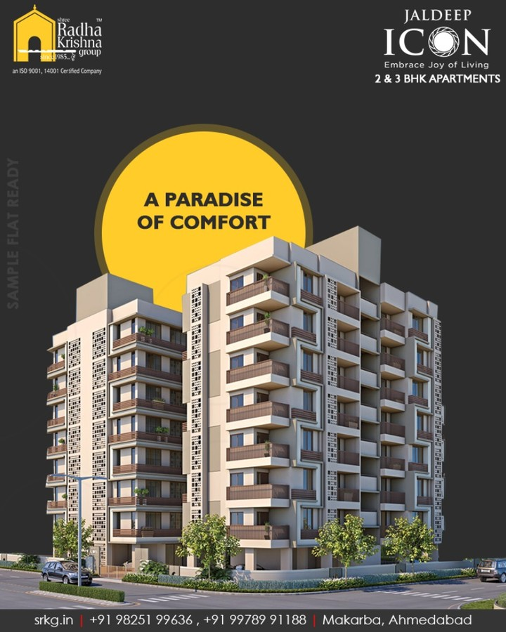 Your home of happiness amidst nature inspired vista  #JaldeepIcon #SampleFlatReady #2and3BHKApartments #LuxuryLiving #ShreeRadhaKrishnaGroup #Makarba #Ahmedabad