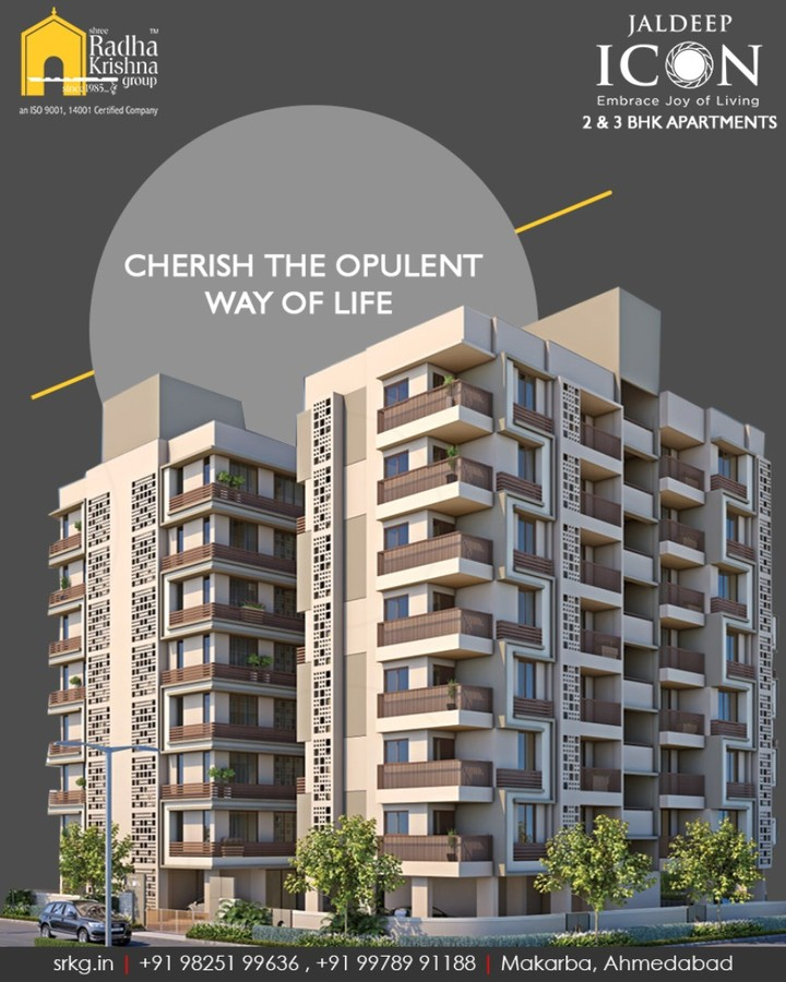 Cherish the best way of living at #JaldeepIcon!  #SampleFlatReady #2and3BHKApartments #LuxuryLiving #ShreeRadhaKrishnaGroup #Makarba #Ahmedabad