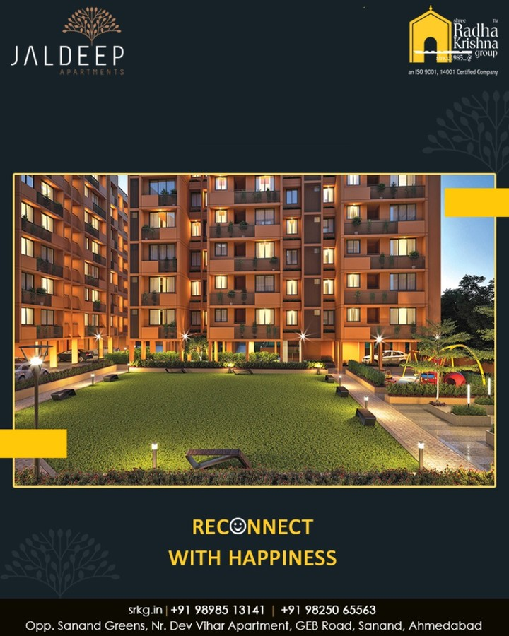Transform the way to live and reconnect with happiness at #JaldeepApartments.  #ReconnectWithHappiness #JaldeepApartments #Sanand #ShreeRadhaKrishnaGroup #Ahmedabad #RealEstate #LuxuryLiving