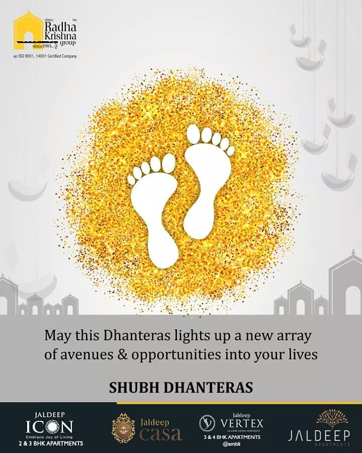 May this Dhanteras lights up a new array of avenues & opportunities into your lives!  #Dhanteras #Dhanteras2018 #ShubhDhanteras #IndianFestivals #DiwaliIsHere #Celebration #HappyDhanteras #FestiveSeason #ShreeRadhaKrishnaGroup #LuxuriousHomes #Gujarat #India