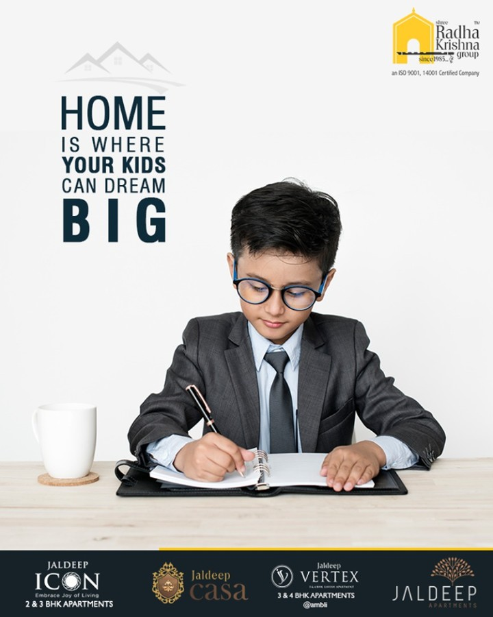 Home is where your kids can dream big. Home was, home is and home will always be the best place to be!  #ThoughtofTheDay #YourHome #ShreeRadhaKrishnaGroup #Ahmedabad #RealEstate #JaldeepApartment #JaldeepVertext #JaldeepCasa #JaldeepIcon