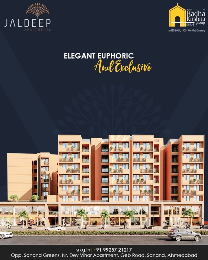 With every modern amenity imaginable the elegant, euphoric & exclusive abodes at #JaldeepApatment offers its dwellers lush green surroundings, breath-taking views & opulent interiors with intricate detailing.  #ElegantEuphoricExclusive #ReconnectWithHappiness #JaldeepApartments #Sanand #ShreeRadhaKrishnaGroup #Ahmedabad #RealEstate #LuxuryLiving
