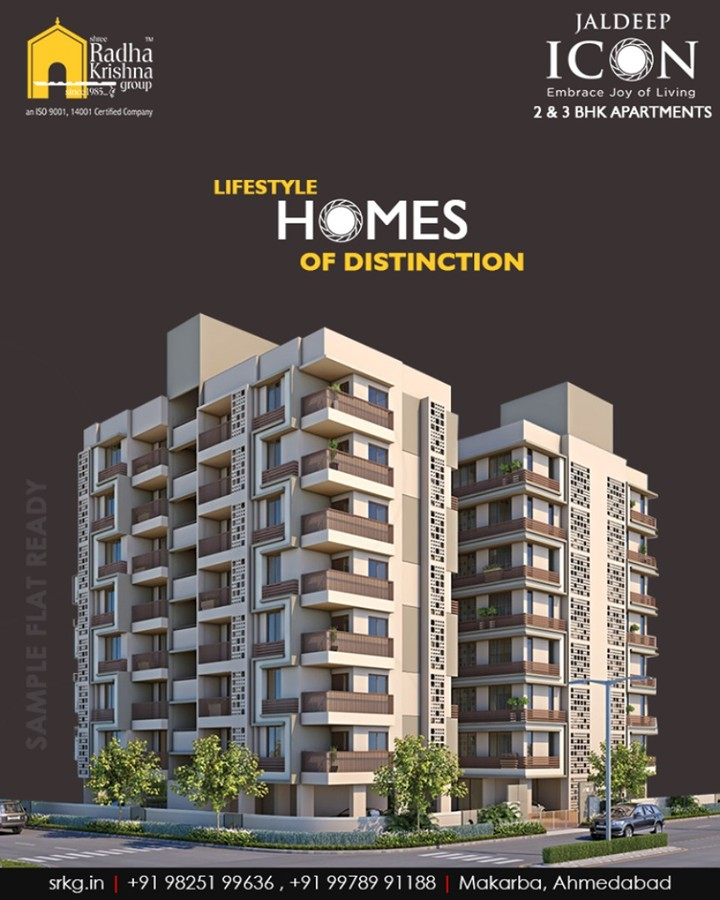 The conveniently nestled & immaculately designed #JaldeepIcon endeavours offering the lifestyle homes of distinction!  #IconicAbodes #SampleFlatReady #2and3BHKApartments #LuxuryLiving #ShreeRadhaKrishnaGroup #Makarba #Ahmedabad #RealEstate #NewYearResolution #AnAssetToCelebrate