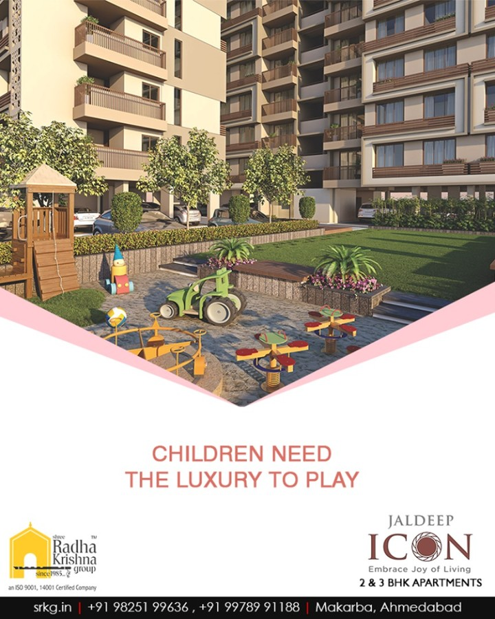 The residents residing at #JaldepIcon will have landscaped garden & kid's play area at their door-step.  Book your space to give your children home with the surrounding where they have luxury and freedom to play.  #AboundingWithAmenities #IconicAbodes #SampleFlatReady #2and3BHKApartments #LuxuryLiving #ShreeRadhaKrishnaGroup #Makarba #Ahmedabad #RealEstate #NewYearResolution #AnAssetToCelebrate