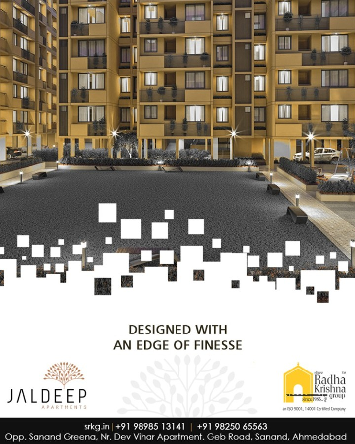 The well-planned apartments at #JaldeepApartment are designed with a touch of luxury & an edge of finesse to uplift the lifestyle of its dwellers.  #AnAssetToCelebrate #GoodInvestment #AestheticallyAppealingNAlluring #JaldeepApartments #Sanand #ShreeRadhaKrishnaGroup #Ahmedabad #RealEstate #LuxuryLiving