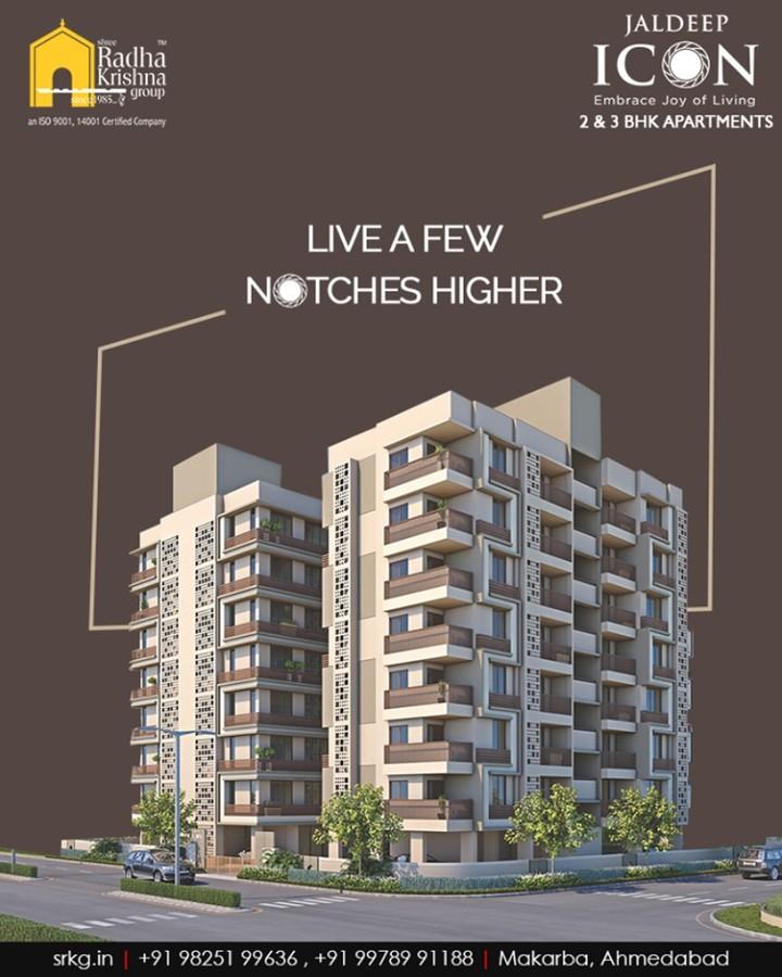 Live a lavish lifestyle that is a few notches higher at the iconic-ally designed #JaldeepIcon.  #SampleFlatReady #2and3BHKApartments #Amenities #LuxuryLiving #ShreeRadhaKrishnaGroup #Makarba #Ahmedabad