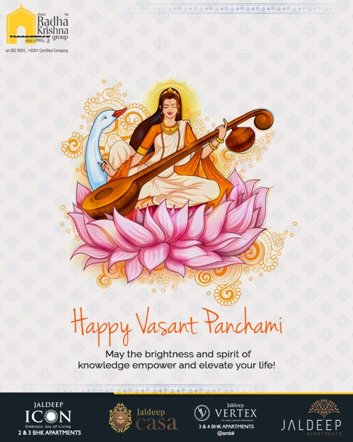 May the brightness and spirit of knowledge empower and elevate your life!  #VasantPanchami #SaraswatiPuja #GoddessSaraswati #ShreeRadhaKrishnaGroup #Ahmedabad #RealEstate #JaldeepApartment #JaldeepVertext #JaldeepCasa #JaldeepIcon