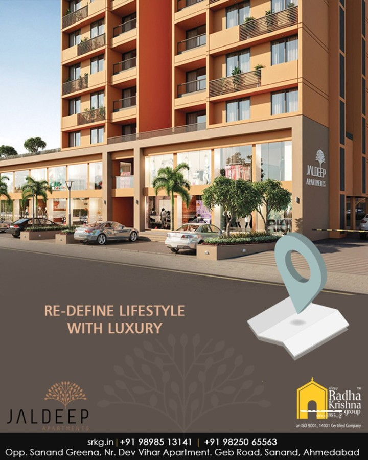 Luxury is not just a mere feeling, it is a perpetual experience. Re-define your lifestyle with luxury at the residential address called #JaldeepApartment.  #AnAssetToCelebrate #GoodInvestment #AestheticallyAppealingNAlluring #JaldeepApartments #Sanand #ShreeRadhaKrishnaGroup #Ahmedabad #RealEstate #LuxuryLiving