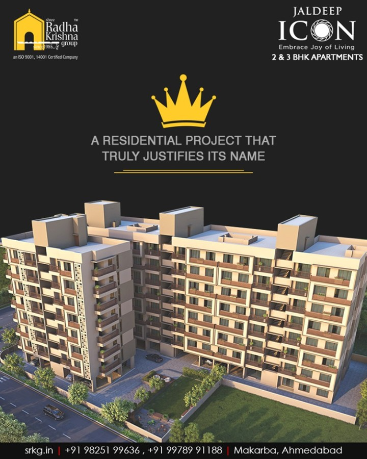 True to its name, #JaldeepIcon is synonymous with excellence. The strategically planned and thoughtfully designed residential project comprises of beautiful homes for the beautiful residents.  #SampleFlatReady #2and3BHKApartments #Amenities #LuxuryLiving #ShreeRadhaKrishnaGroup #Makarba #Ahmedabad