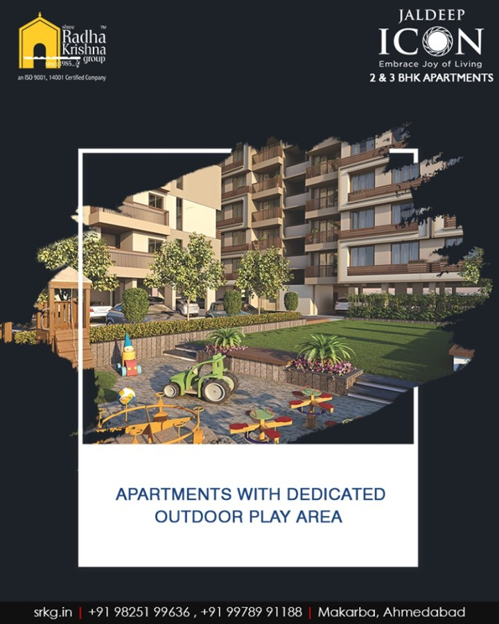 #JaldeepIcon is a residential project that offers a dedicated outdoor play area for kids inside the residential premises, where they can play in peace.  #SampleFlatReady #2and3BHKApartments #Amenities #LuxuryLiving #ShreeRadhaKrishnaGroup #Makarba #Ahmedabad