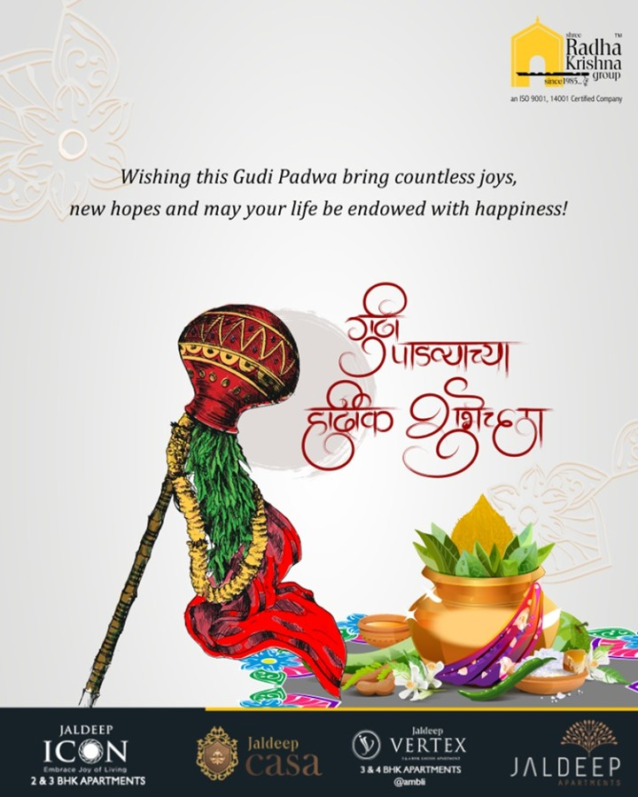 Wishing this Gudi Padwa bring countless joys, new hopes and may your life be endowed with happiness!  #GudiPadwa #ChetiChand #HappyUgadi #IndianFestival #ShreeRadhaKrishnaGroup #Ahmedabad #RealEstate #LuxuryLiving #Gujarat #India