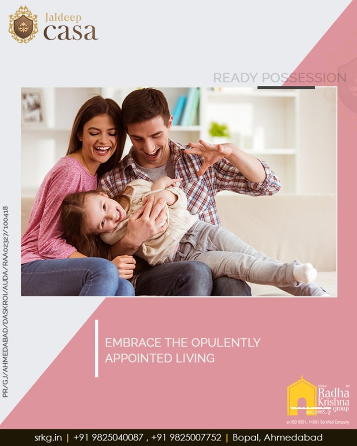 Shake hands with re-defined sophistication and luxury as you embrace the opulently appointed living at #JaldeepCasa.  #WorldOfHappiness #WorkOfArtResidence #Bopal #ShreeRadhaKrishnaGroup #Ahmedabad #RealEstate #LuxuryLiving