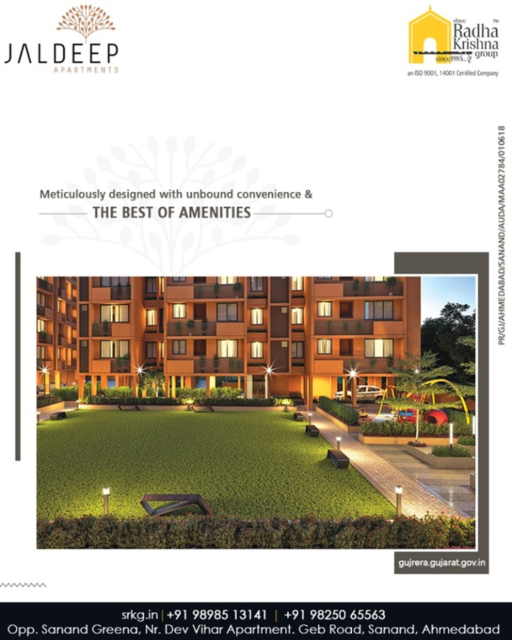 #JaldeepApartment is meticulously designed with unbound convenience & the best of amenities that are an effortless blend of modernity and elegance.  #Amenities #LuxuryLiving #ShreeRadhaKrishnaGroup #Ahmedabad #RealEstate