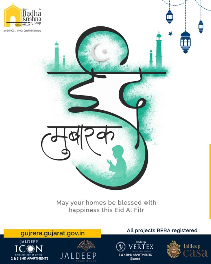 May your homes be blessed with happiness this Eid Al Fitr.  #EidMubarak #Eid2019 #EidalFitr #Eid #ShreeRadhaKrishnaGroup #SRKG #Ahmedabad #RealEstate