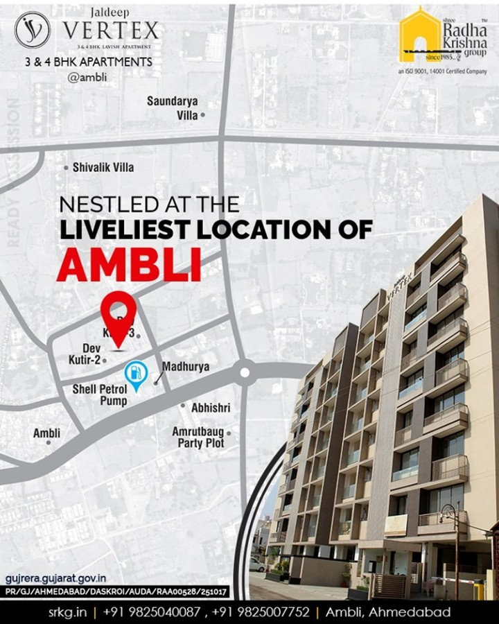 Nestled at the liveliest and prime location of #Ambli!  #JaldeepVertex #ShreeRadhaKrishnaGroup #SRKG #Ahmedabad #RealEstate