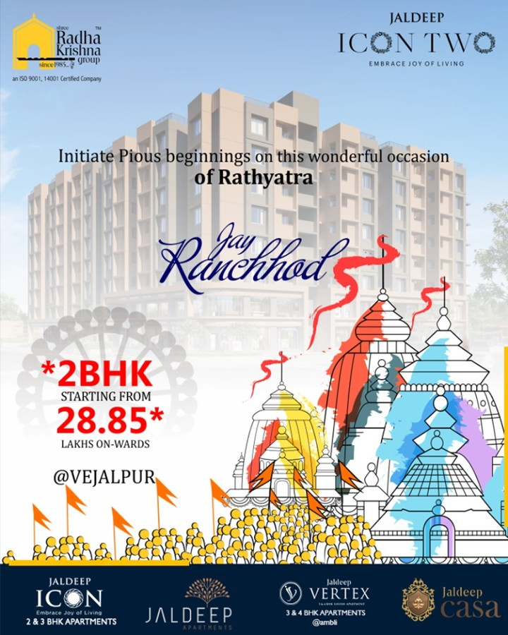 Initiate pious beginnings on this wonderful occasion of Rathyatra  #RathYatra2019 #RathYatra #LordJagannath #FestivalOfChariots #Spirituality #ShreeRadhaKrishnaGroup #Ahmedabad #RealEstate #SRKG