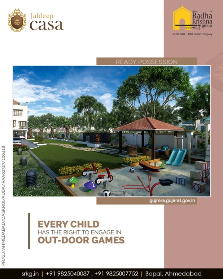 At Shree Radha Krishna Group, we understand very well that every child has the right to rest and leisure, to engage in play and other outdoor recreational activities.  Hurry and get your space booked to give your children a home where they will have the freedom to play.  #Bopal #Amenities #LuxuryLiving #ShreeRadhaKrishnaGroup #Ahmedabad #RealEstate #WorldOfHappiness