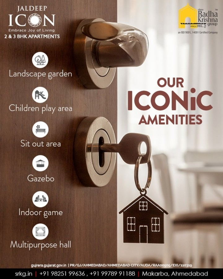 ::: Our Iconic Amenities::: #IconicLiving #LuxuryLiving #ShreeRadhaKrishnaGroup #Ahmedabad #RealEstate #SRKG #IconicApartments