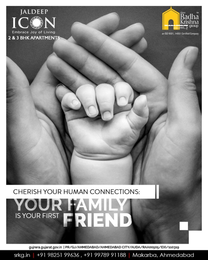 Your family is your first friend; spend quality time with your beloved ones and cherishes your human connections at home.  #JaldeepIcon #IconicLiving #LuxuryLiving #ShreeRadhaKrishnaGroup #Ahmedabad #RealEstate #SRKG #IconicApartments